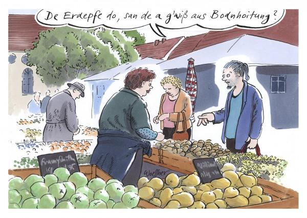 Postkarte - De Erdepfe do, san de a g'wiß aus Bodnhoitung?
