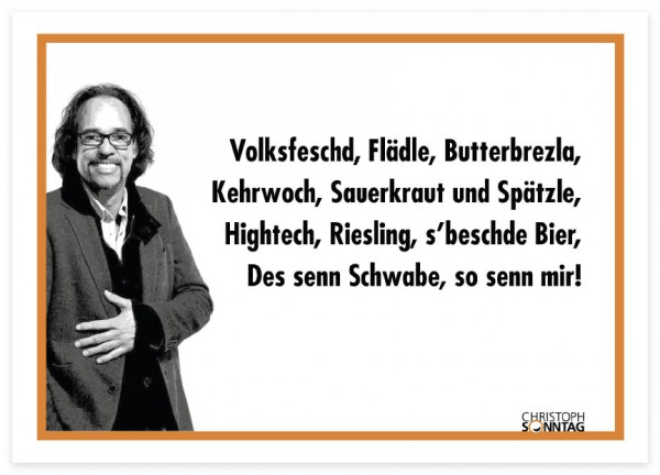 Postkarte - Christoph Sonntag - Volksfeschd, Flädle, Butterbrezla ...