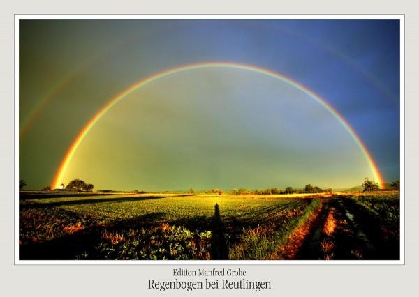 Postkarte - Ed. Manfred Grohe - Regenbogen bei Reutlingen -