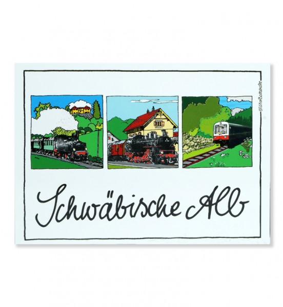 Postkarte - Schwäbische Alb - Schwäbische Eisenbahn / Edition Bachschuster