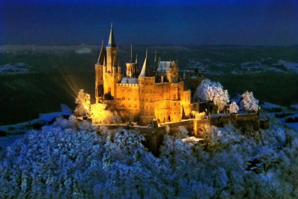 Grußkarte - Hohenzollern am Abend