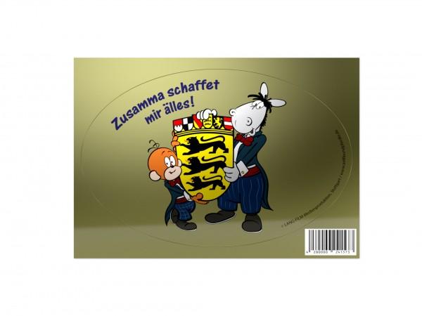 Sticker - Äffle & Pferdle Zusamma schaffet mir älles! - gold