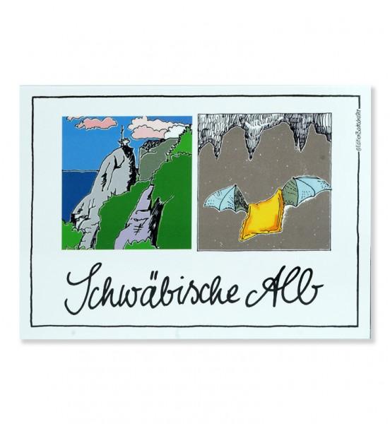 Postkarte - Schwäbische Alb - Felsen, Maultaschenmaus / Edition Bachschuster