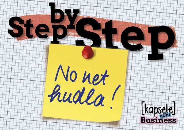 Postkarte - Step by Step - No net hudla!