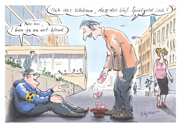 Postkarte - Freimut Woessner - Isch des schlemm, dass des bloß Spielgeld isch?