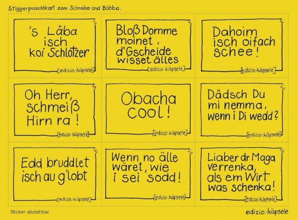 Stickerpostkarte - 9 Motive 's Läba isch koi Schlotzer u.a.