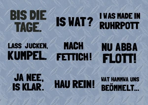 Sticker-Postkarte mit 9 GÜNNA-Sprüchen