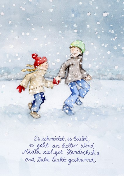 Weihnachts-Postkarte - Es schneielet, es beielet ...