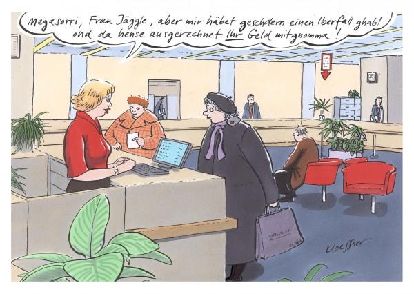 Postkarte - Freimut Woessner - Megasorri Frau Jäggle, aber mir häbet geschdern einen Iberfall ghabt