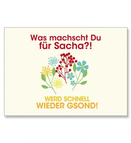 Grußkarte - Wasch machscht Du für Sacha?!